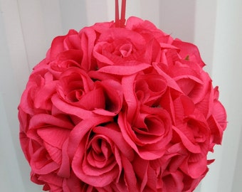Wedding flower ball, Hot pink Pomander, Kissing ball, Wedding decorations, Flower girl Bridesmaid bouquet