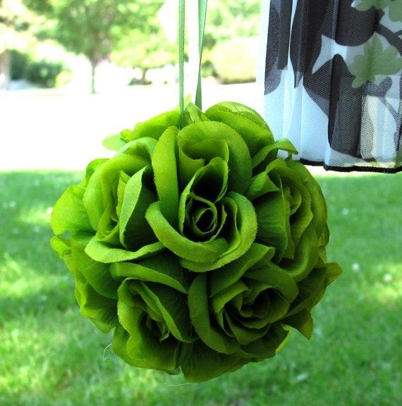 Wedding Pomander, Flower girl kissing ball, Green rose Flower ball, Wedding decoration