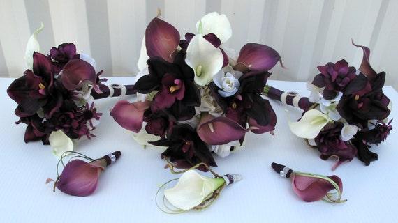Wedding bouquet 6 piece bouquet set - orchid calla lily plum purple and white bridesmaid bouquets, Boutonnieres, Bridal bouquet package