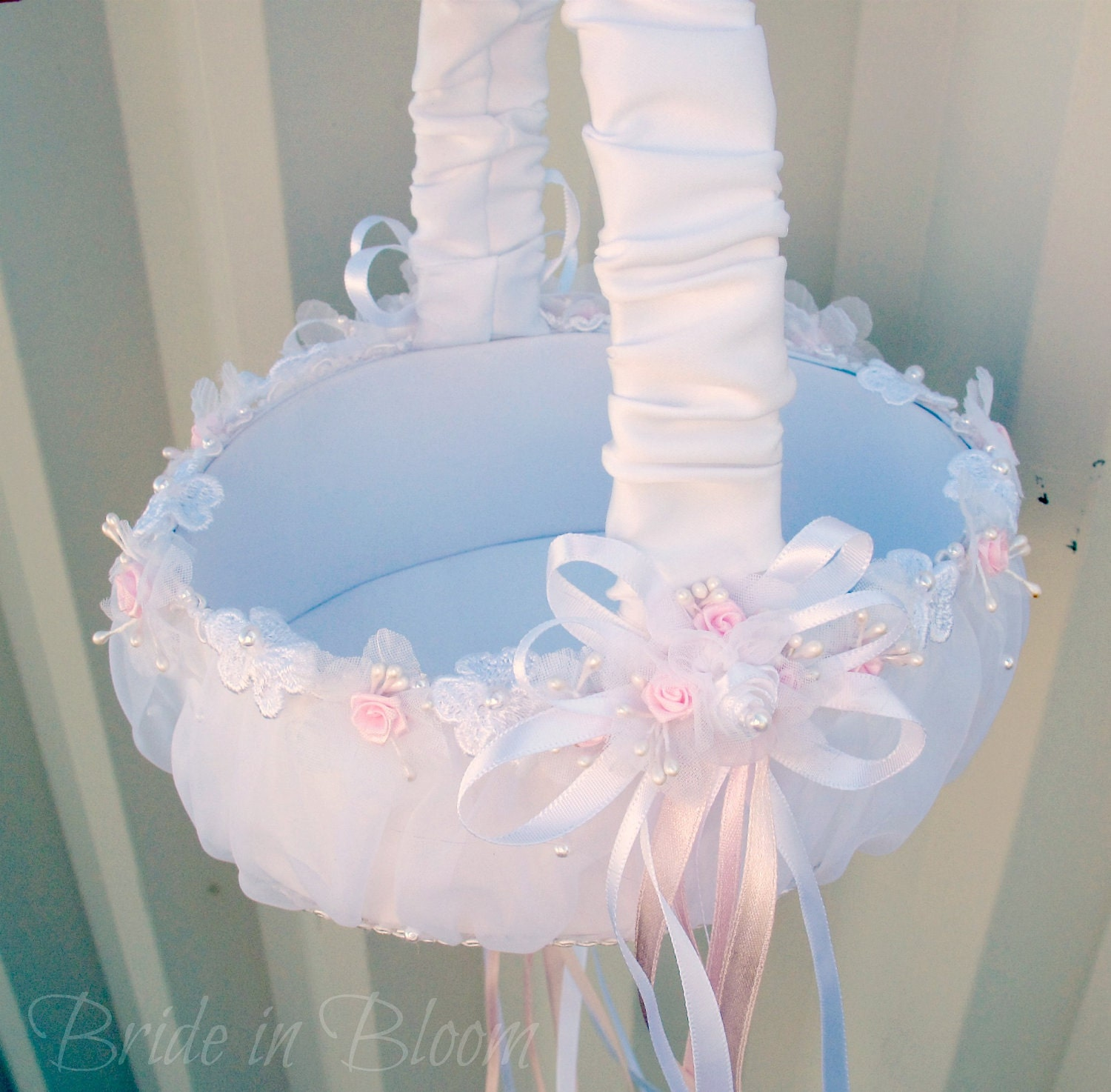 Flower Baskets Wedding : Flower girl basket wedding white and pink satin