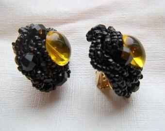 Sandor Black Bead Earrings with Yellow Bead Center