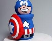 Captain America Handmade Wood Figure Cake Topper READY TO SHIP Art Toy Collectible Superhero