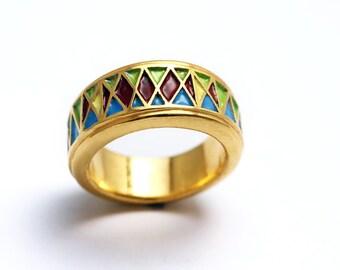 Egyptian enamel ring, colorful handmade jewelry, modern wedding ring