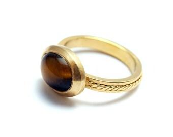 Filigree tiger eye ring, contemporary jewelry design, brown stone