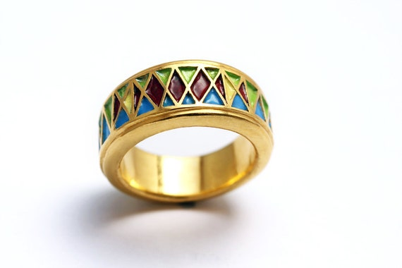 Egyptian enamel ring, colorful handmade jewelry, modern wedding ring