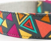 Neon Triangles Dog Collar