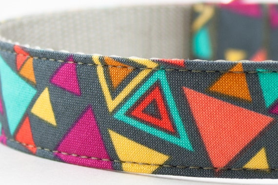 Neon Triangles Dog Collar