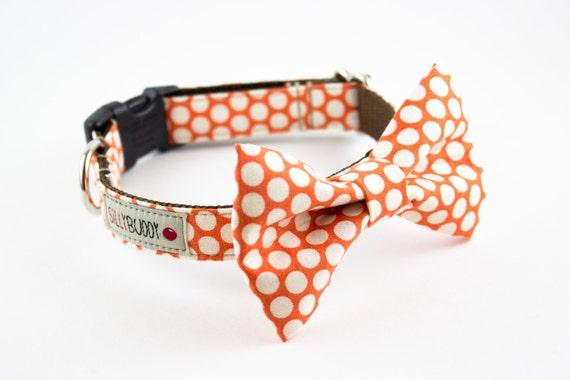 Tangerine Honeycomb Dog Bow Tie Collar