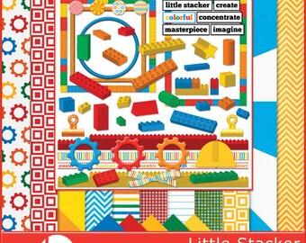 Little Stackers - Building Blocks and Wooden Blocks Digital Scrapbook Kit - Instant Download