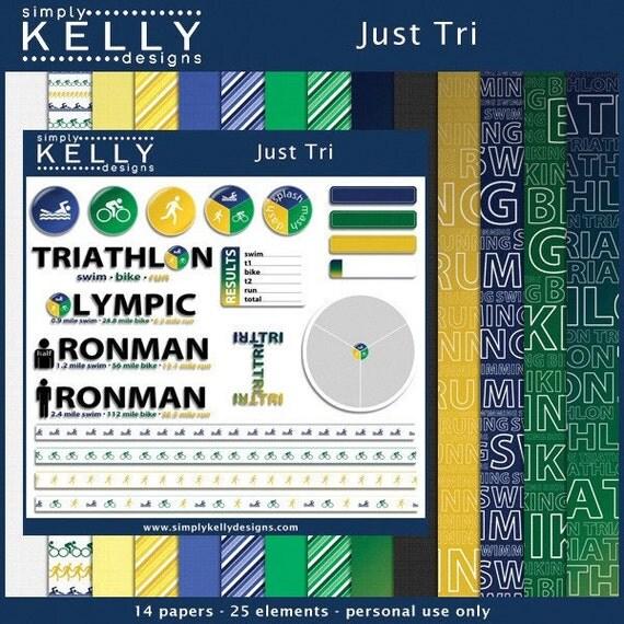 Just Tri - Triathlon Digital Scrapbook Kit - Instant Download