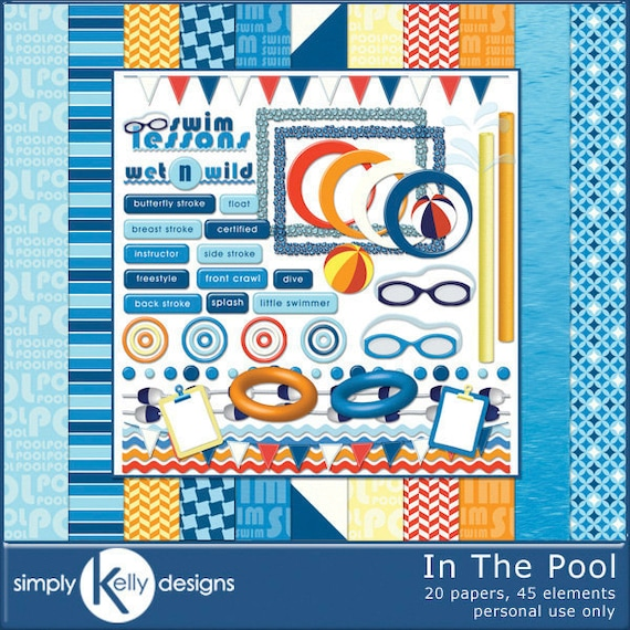 In The Pool - Swimming Lessons or Water Fun Digital Scrapbook Kit - Instant Download
