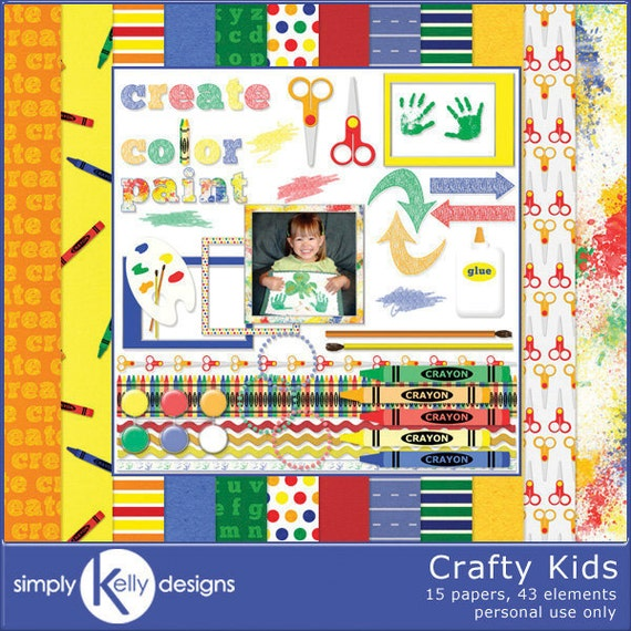 Crafty Kids - Crafting With Kids Digital Scrapbook Kit - Instant Download