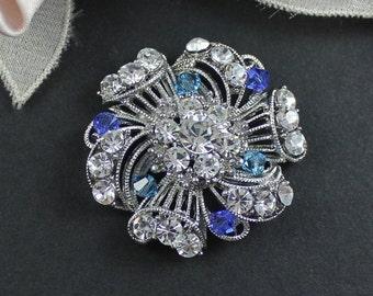 Bridal Brooch, Swarovski Wedding Dress Brooch, Victorian Wedding Dress Sash Pin, CARNIVALE