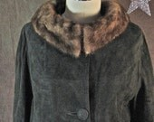 1960's  Mad Men Chocolate Suede and Mink Car Coat size Small