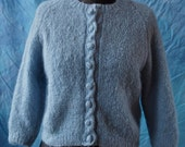 Vintage Cardigan Baby Blue 50's Hand Knit Cardigan With Knit Buttons and Scalloped Edge Size Small