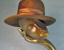 Mr. Charles  Hat Gold Cashmere and Satin Bonnie and Clyde Fedora 1970's Hat