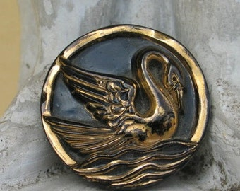 Art Deco Swan Brooch Black and Gold Vintage Glass Czech Brooch