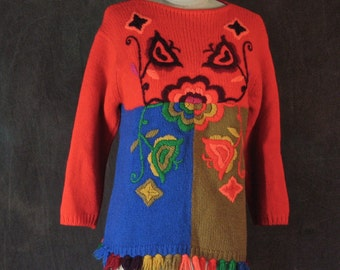 1960's Sweater Phil Rose of California Pantsweater-Op Art Psychedelic Neon Wool Color Block Fringe Embroidered Pullover