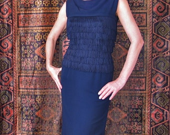 50's/60's Navy Blue Fringe Dress Mad Men Navy Blue Wiggle Dress With Fringed Bodice and Bow size Small