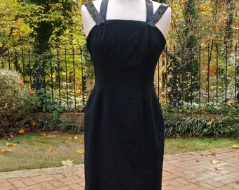 Vintage Dress Black Beaded 80's Criss Cross Beaded Straps Cache Cocktail dress