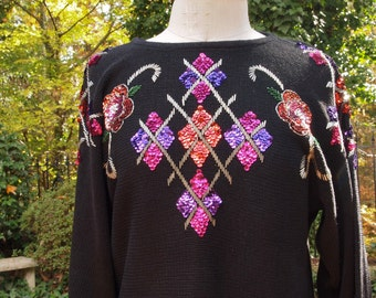 80's Vintage Sweater Bedazzled Black Knit with Mardi Gras Sequins and Beads Sweater