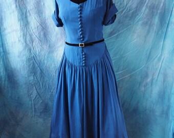 40's Blue Dress Crepe Dress With Black Velvet Neck and Pleated Princess Waist  Full Skirt