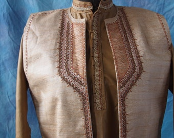Indian Boy/Man Gold Shirt and Vest Gold Embroidered Neru Collar Size 10