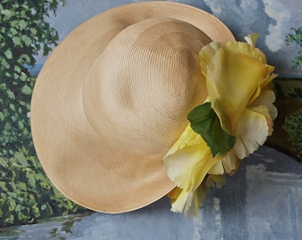 Vintage Jack McConnell Straw Hat with Large Yellow Silk Flower Kentucky Derby Garden Party