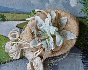Easter Wedding Hat Woven Ecru Pillbox Mr. Henry with Pale Aqua Tiger Lily and Grosgrain Bow Cupcake Wedding