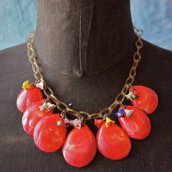 1930's Vintage Necklace Red Dyed Shell and Celluloid Chain with tiny Bellflower Dangles