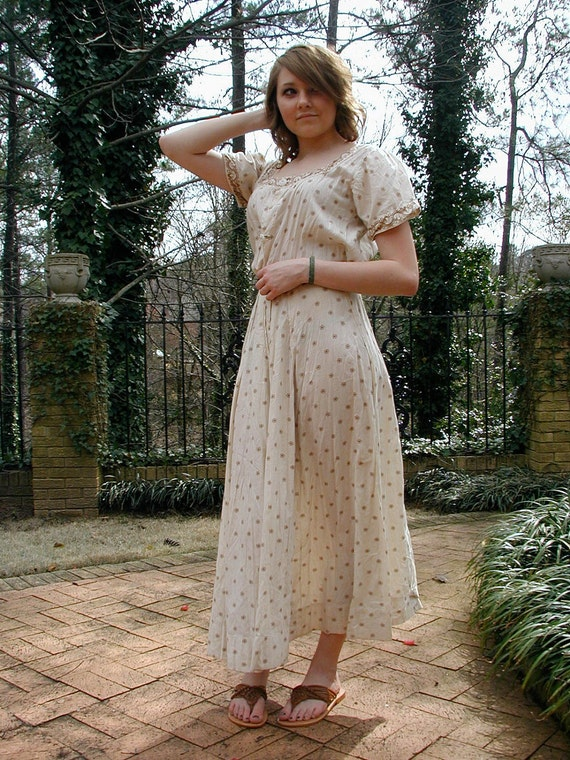 Vintage Edwardian/Victorian Dress Beige and Tan Print Cotton Picnic Day Dress-size XS-AS IS
