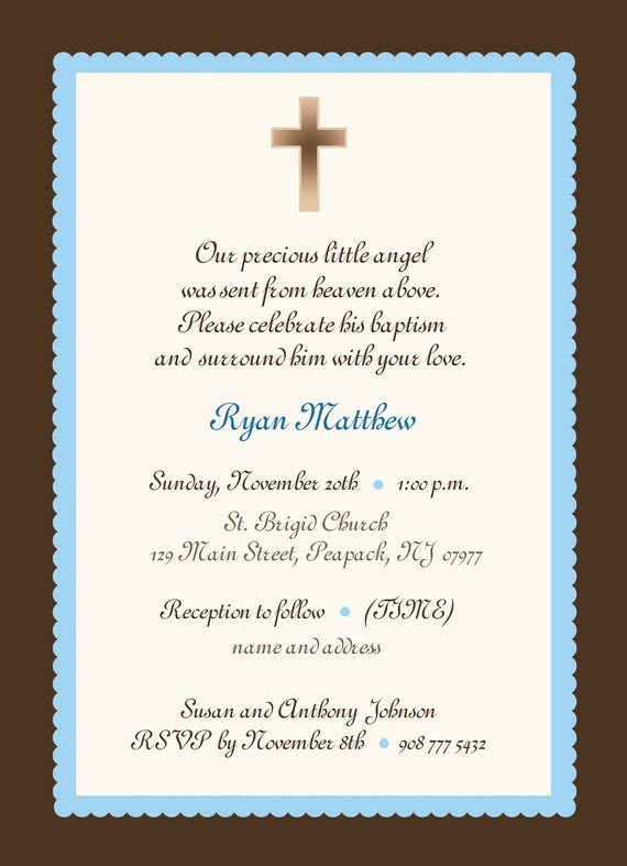 Baby Boy Baptism Invitation boy or girl baby boy invitation