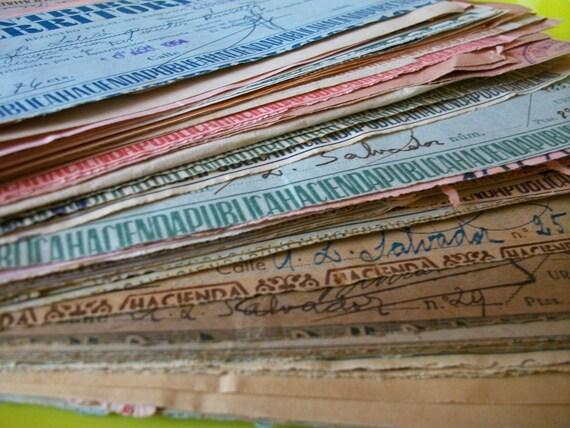 5 Handwritten spanish receipts - Vintage paper set - Ephemera documents from Spain