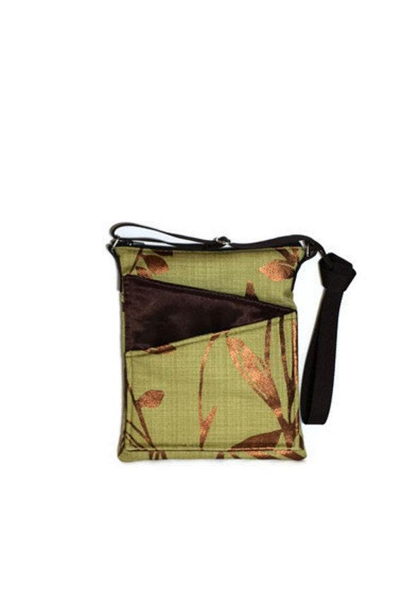 Ipad Crossbody bag green fabric travel bag,tablet, long strap cross body, front pockets, zip fastening