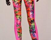 Paint Splatter Leggings With Hot Pink Side Strip (((FALL/WINTER '12/'13)))