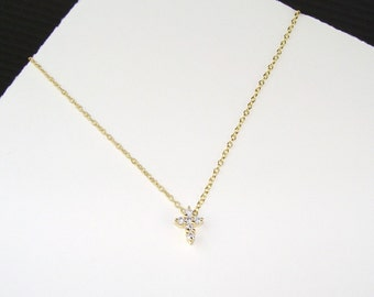 Tiny Gold Filled Pave CZ Cross Necklace - Modern Cross, Gift for her, Love, Faith, Love, Tiny Cross, Lisaloren, Trending, Delicate, Dainty