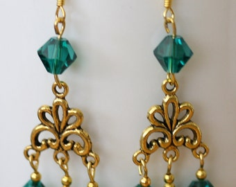 SALE Gold Earrings with Swarvoski beads CLEARANCE