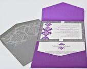 Royal Wedding - Purple Pocket Invitation