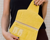 Yellow Leather Wallet, minimalist wallet, yellow leather clutch bag, yellow wallet purse, womens wallets, women leather wallet, soft leather