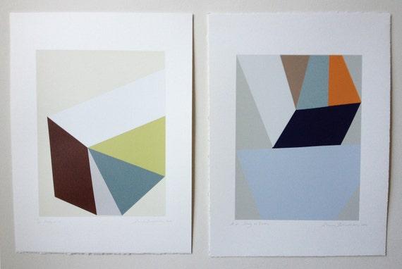 Small geometric screenprint, an original handmade work of art in lovely spring colours.