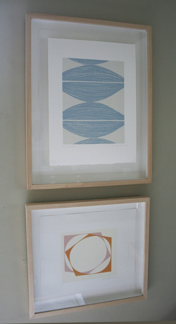 Seeds abstract screenprint. Original hand pulled simple design in duck egg blue and cream