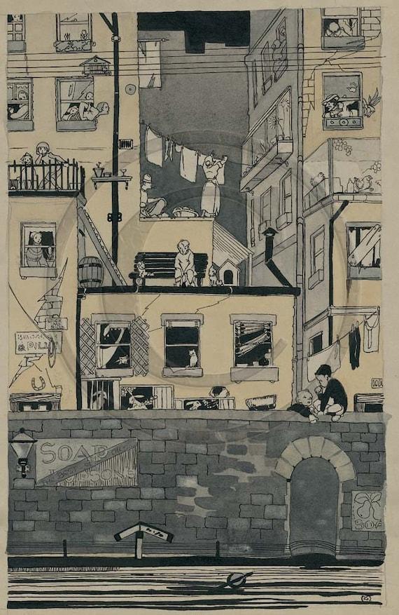Urban Scene, City, New Home, Windows,  Illustration, 1920s, City Art, Art Deco, Print