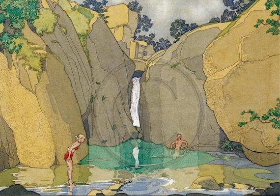 Bathing Pool, Waterfall, Nature, Bestseller, Most Popular, Art Deco, Vintage 1920s Art Print