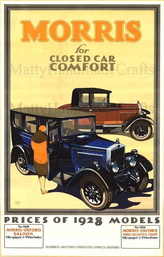 Morris Oxford, Cars 1930s Art Deco Print - Advertising Poster