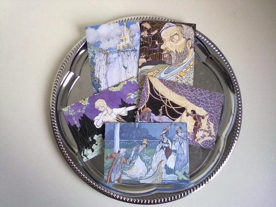 Fairytale Cards, Christmas Caerds, Art Deco, Greeting Cards,Fairy Tale Images - Set of 5