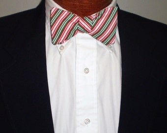 Red, White and Green Thick Stripes Christmas Self-Tie Bow Tie