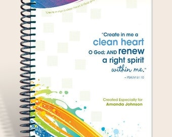 Journal / Personalized Gift / Prayer Notebook - BrightWaves - Psalm 51:10/