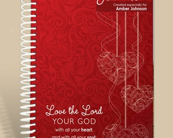 Journal Notebook / Prayer Journal Personalized - Heart and Soul Deuteronomy 6:5/