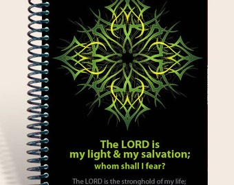 Personalized Gift /Prayer Journal  - Ornate Green - Psalm 27:1