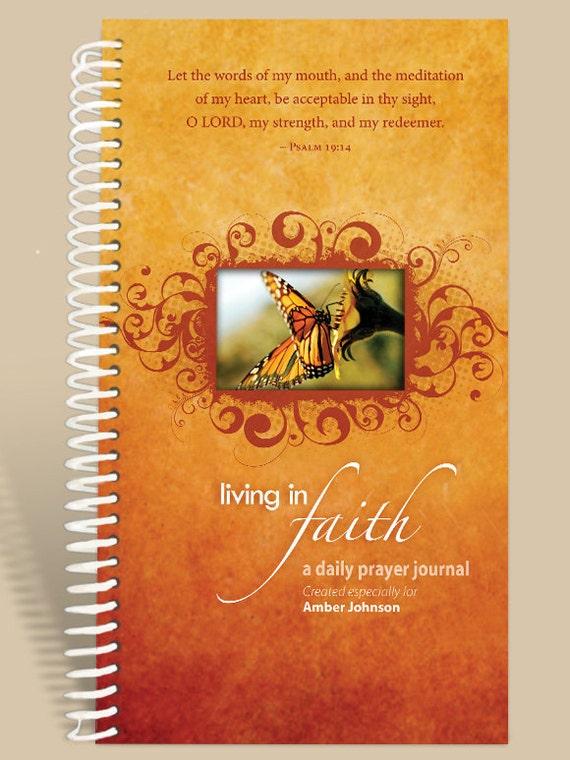 Christian Gift / Prayer Journal Personalized - Golden Butterfly - Psalm 19:14/